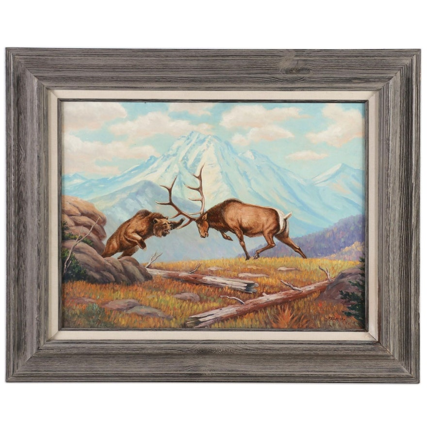 Iserman Landscape Oil Painting of Stag Fighting Bear, Mid to Late 20th Century