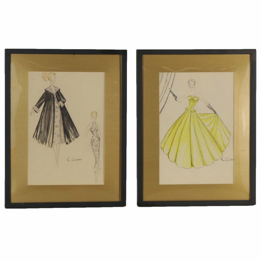 C. Liliana Watercolor and Graphite Fashion Illustrations, Late 20th Century