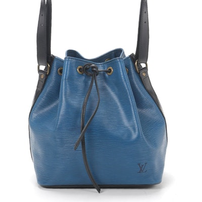 Louis Vuitton Petit Noé in Blue/Black Epi and Smooth Leather