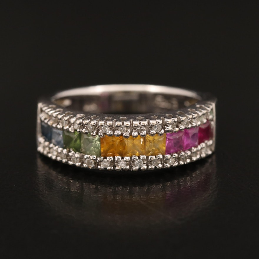 "EFFY ""Water Colors"" 14K Sapphire, Ruby and Diamond Band"