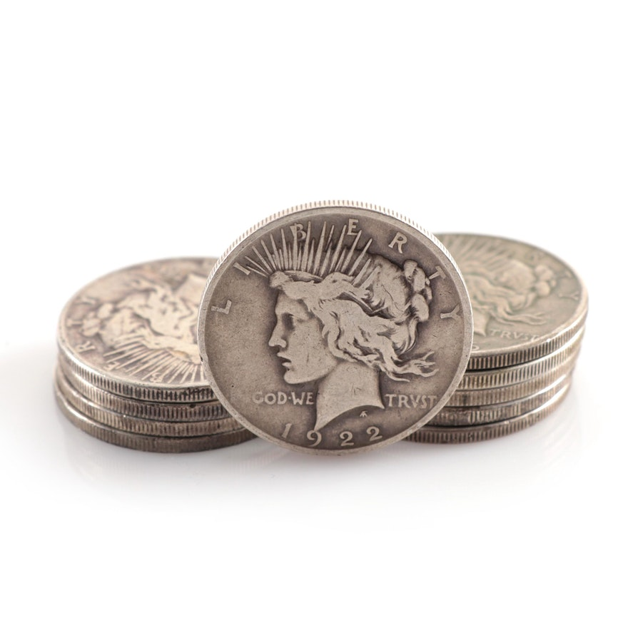 Ten Circulated Peace Silver Dollars