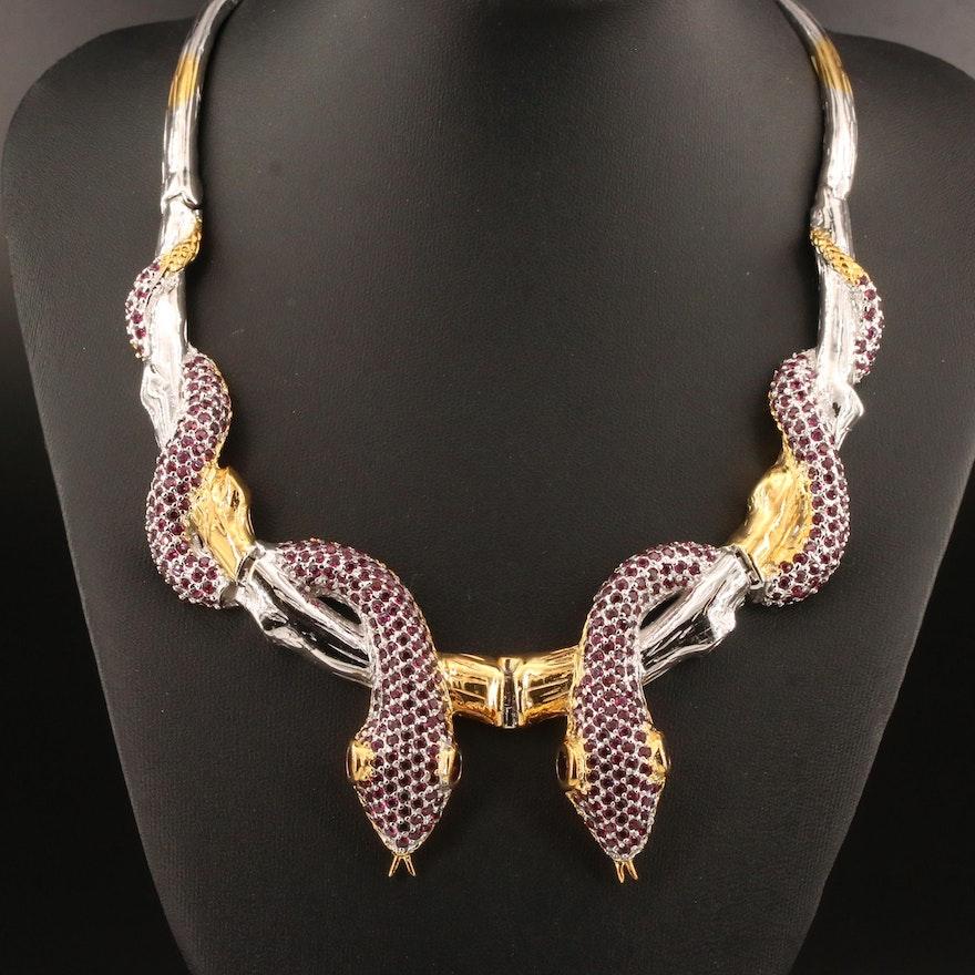 Sterling Garnet Double Snake Necklace