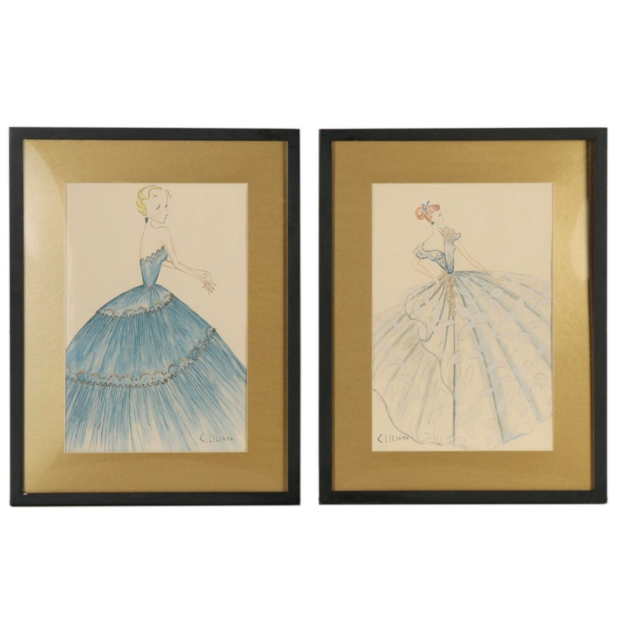 C. Liliana Watercolor and Graphite Fashion Illustrations, Late 20th Century