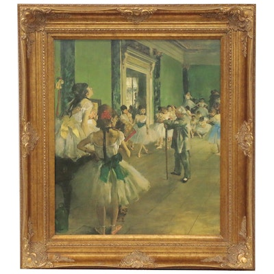 "Embellished Offset Lithograph after Edgar Degas ""The Dance Lesson,"" 1999"
