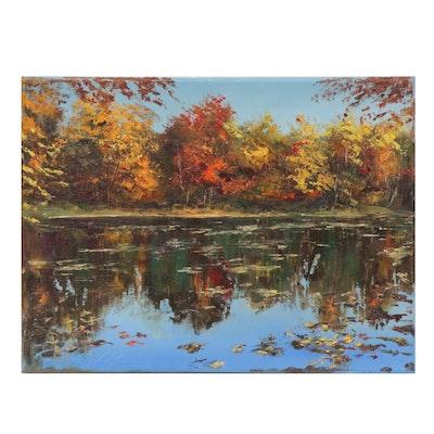 "Garncarek Aleksander Landscape Oil Painting ""Jesienny Staw,"" 2020"