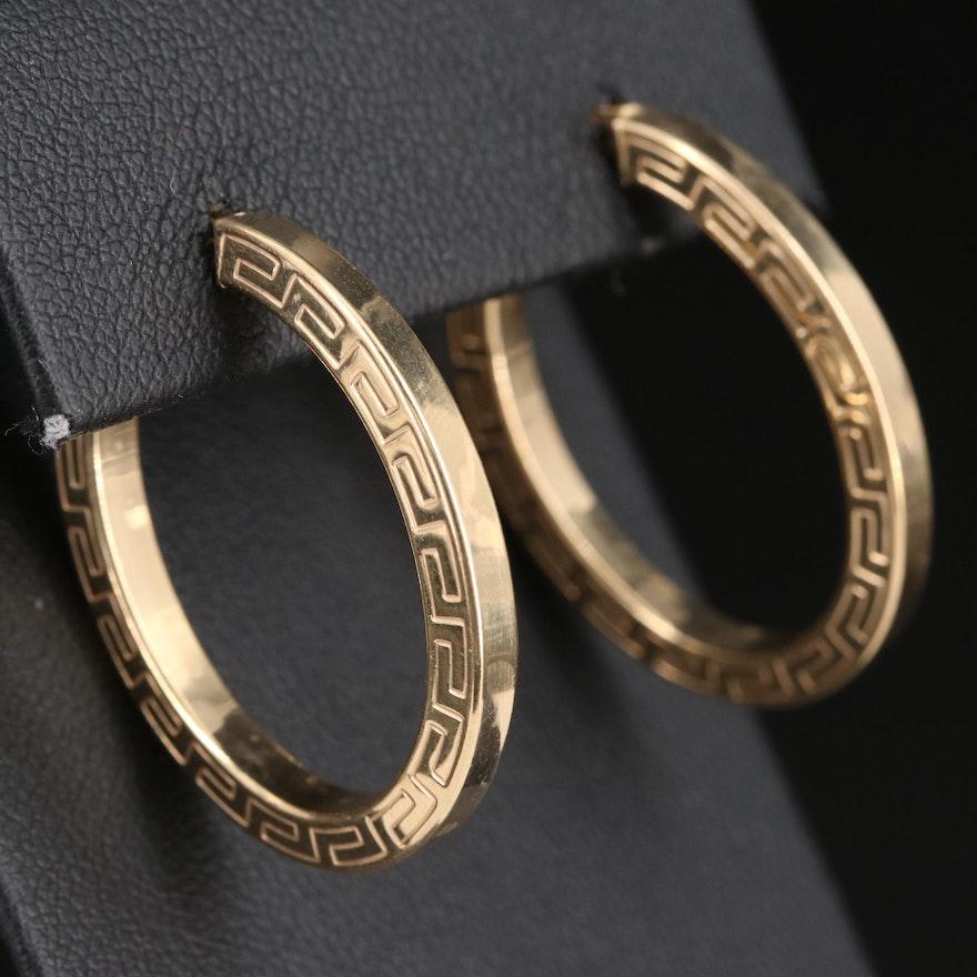 14K Greek Key Hoop Earrings