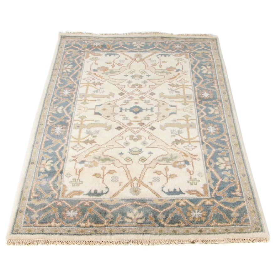 3'10 x 6'1 Hand-Knotted Indo-Turkish Oushak Rug