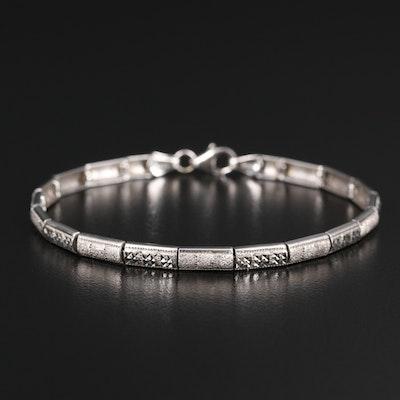 14K Diamond Cut Panel Bracelet