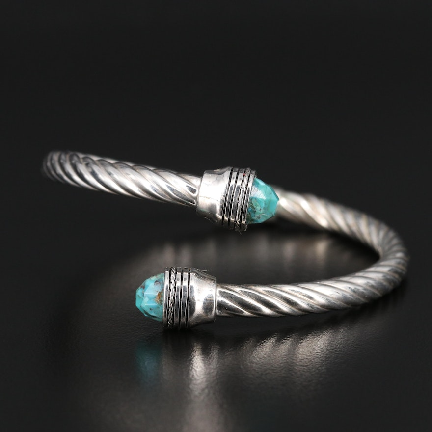 Sterling Silver Turquoise Bypass Bangle