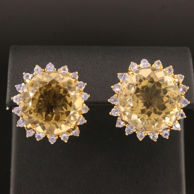 Sterling Silver Citrine and Tanzanite Earrings