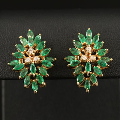14K Emerald and Diamond Clip-On Earrings