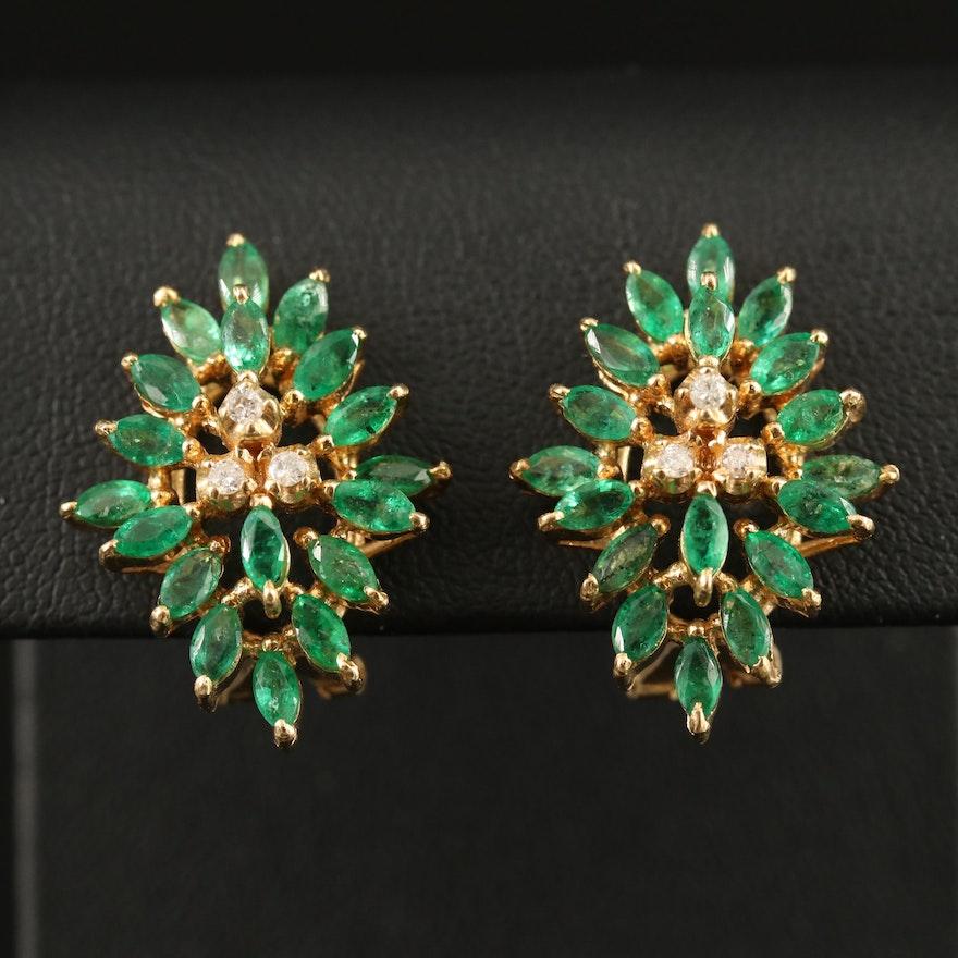 14K Emerald and Diamond Clip-On Earrings