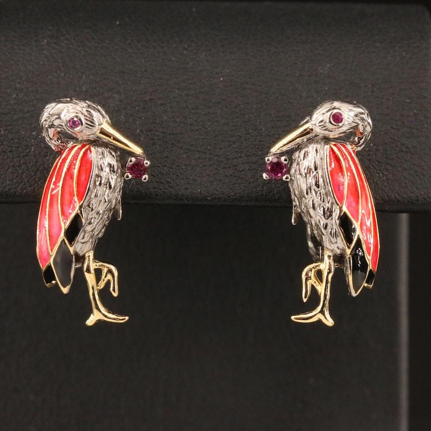 Sterling Silver Sapphire, Garnet and Enamel Flamingo Motif Earrings