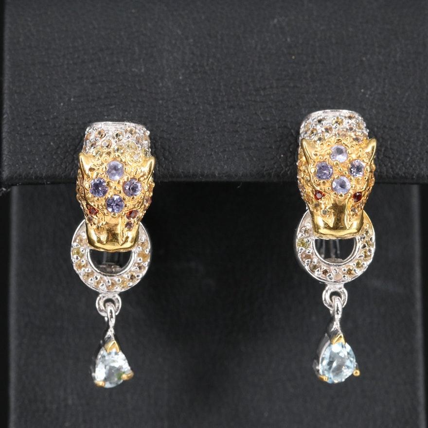 Sterling Silver Tanzanite, Sapphire and Quartz Feline Door Knocker Earrings