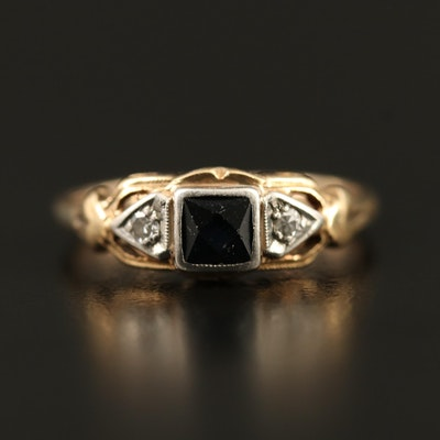Vintage 10K Sapphire and Diamond with Palladium Accent Ring