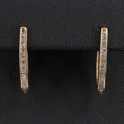 10K Diamond Oblong Hoop Earrings