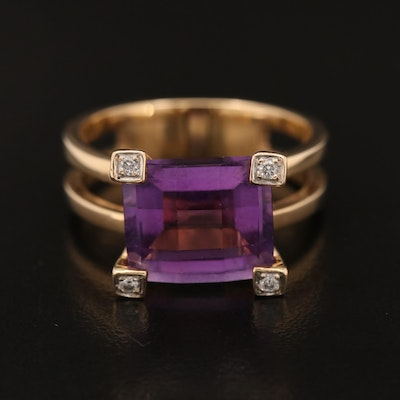 14K Amethyst and Diamond Ring with Split Shank