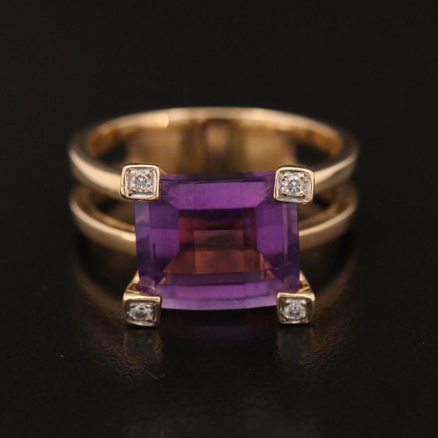 14K Amethyst and Diamond Ring with Split Shank