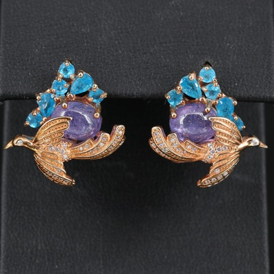 Sterling Silver Tanzanite, Apatite and Cubic Zirconia Bird Motif Earrings