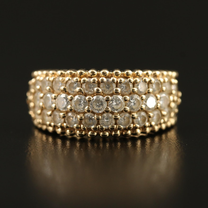 10K Cubic Zirconia Multi-Row Ring