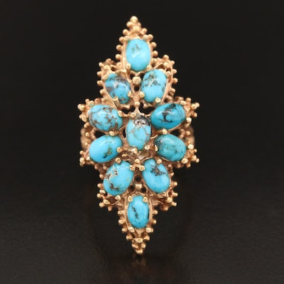 14K Turquoise Pointer Ring with Bamboo Motif Shank