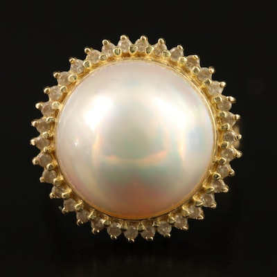 14K Mabé Pearl Ring with Diamond Halo