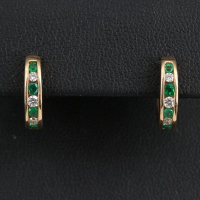 Simon G 14K Emerald and Diamond Huggie Earrings