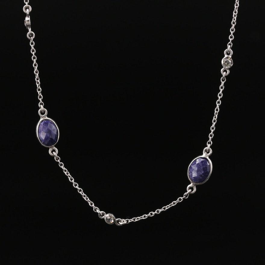 Sterling Silver Corundum Station Necklace
