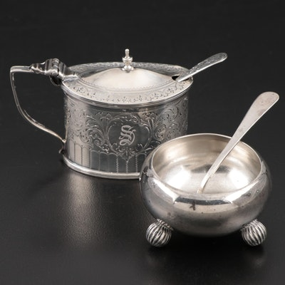 Josiah Williams & Co. Sterling Salt Cellar and Spoon with English Mustard Pot