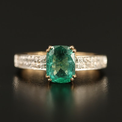 9K 1.14 CT Emerald and Zircon Ring