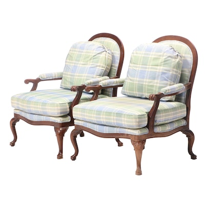 Pair of Over-Sized Queen Anne Style Lounge Chairs, Late 20th Century