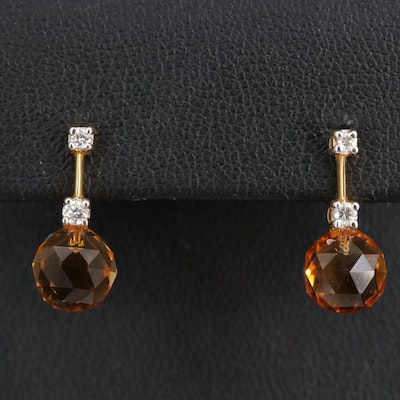 14K Citrine and Diamond Drop Earrings