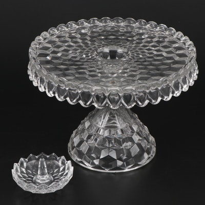 "Fostoria ""American"" Round Cake Stand with Ring Dish"