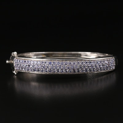 Sterling Tanzanite Multi-Row Hinged Bracelet