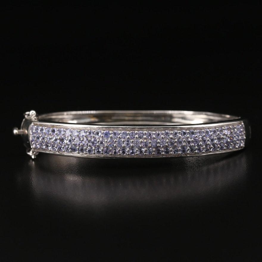 Sterling Tanzanite Multi-Row Hinged Bracelet