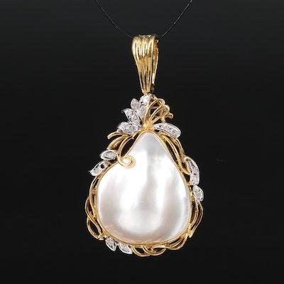 14K Blister Pearl and Diamond Enhancer Pendant