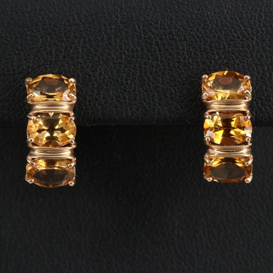 14K Citrine J Hoop Earrings