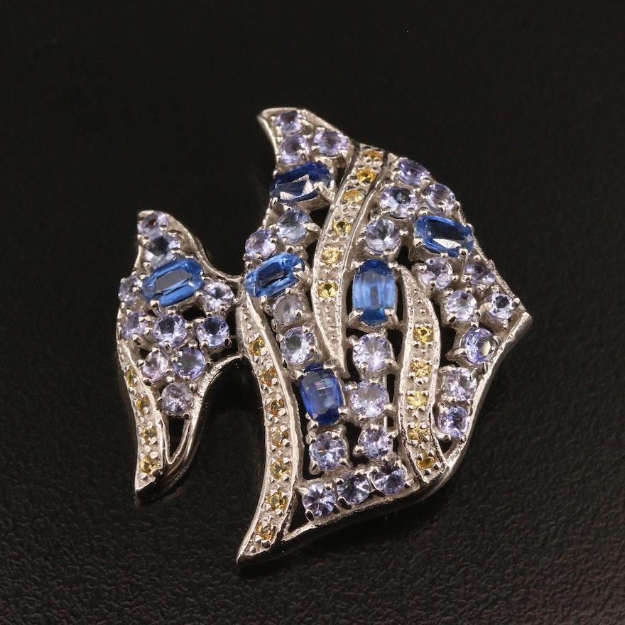 Sterling Silver Sapphire Angelfish Brooch