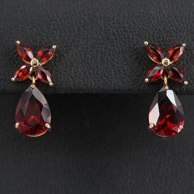 14K Garnet Teardrop Earrings