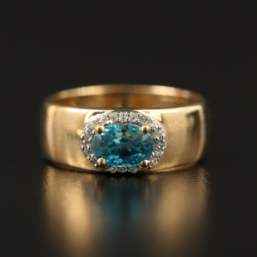 9K Zircon Ring with Sapphire Halo