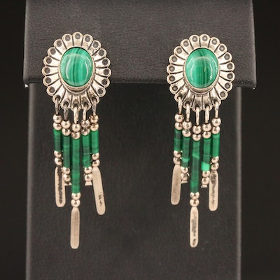 Southwestern Style Sterling Silver Malachite Fringe Earrings