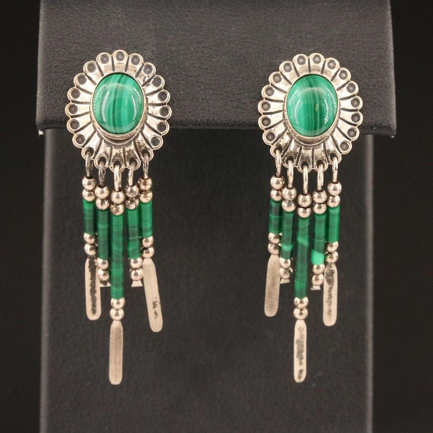Southwestern Style Sterling Silver Malachite Fringe Earrings