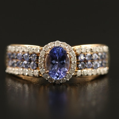 9K Tanzanite and Diamond Ring