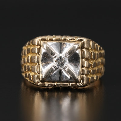14K 0.23 CT Diamond Ring with Euro Shank