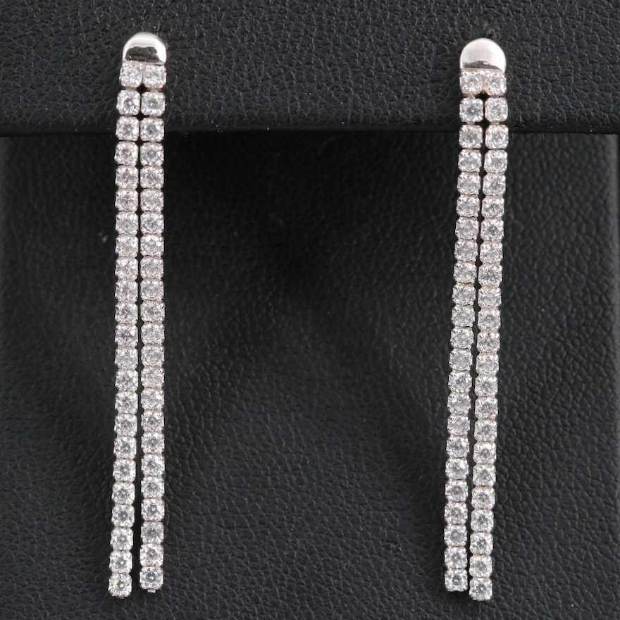 Sterling Silver Cubic Zirconia Tassel Dangle Earrings