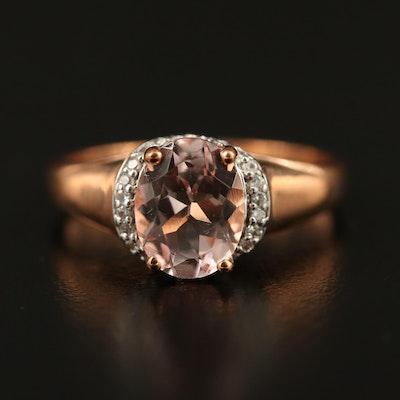 9K Rose Gold Morganite and Sapphire Ring