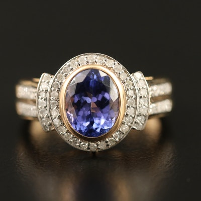 9K Tanzanite and Diamond Halo Ring