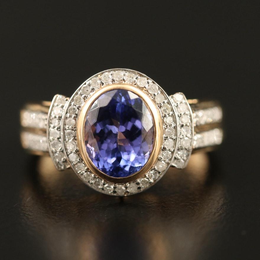 9K Tanzanite and Diamond Halo Ring