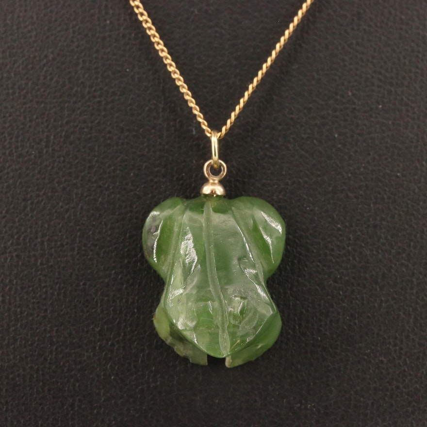 Carved Nephrite Frog Pendant on 14K Curb Link Chain