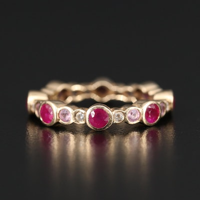 14K Ruby, Sapphire and Diamond Eternity Band